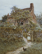 Country Lane Framed Prints - The Black Kitten Framed Print by Helen Allingham