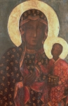 Icon Byzantine Painting Posters - The Black Madonna of Jasna Gora Poster by Russian School
