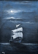 Sea Moon Full Moon Painting Originals - The Black Pearl by Rajeev M Krishnan