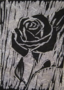 Linoleum Block Print Reliefs Posters - The Black Rose Poster by Marita McVeigh
