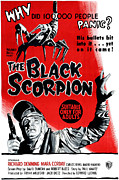 1950s Poster Art Framed Prints - The Black Scorpion, Bottom Richard Framed Print by Everett