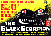 1950s Poster Art Framed Prints - The Black Scorpion, Top Right Mara Framed Print by Everett