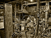 Vintage Photographs Framed Prints - The Blacksmith Shop Sepia Framed Print by Ken Smith