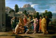 Biblical Framed Prints - The Blind of Jericho Framed Print by Nicolas Poussin