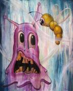 Alien Painting Originals - The Blob and The Worm by Matt Truiano