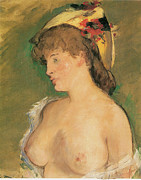 Nudes Posters - The Blonde Poster by Edouard Manet