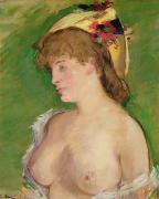 Manet Framed Prints - The Blonde with Bare Breasts Framed Print by Edouard Manet