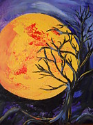 Tree Roots Paintings - The Blood Moon on a Chilly Night by Starla Peterson