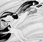 Long Hair Drawings - The Blood of Fish by Gustav Klimt