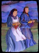 Batik Tapestries - Textiles Posters - The Blowing Skirts of Ladies Poster by Carolyn Doe