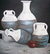 Water Jars Paintings - The Blue and White jars by Trudy-Ann Johnson
