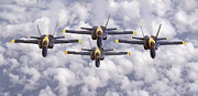 F-18 Prints - The Blue Angels Fly In Diamond Print by Stocktrek Images