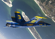 F-18 Posters - The Blue Angels Perform A Looping Poster by Stocktrek Images