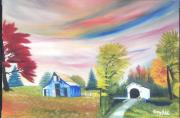 Covered Bridge Painting Metal Prints - The Blue Barn and Covered Bridge Metal Print by Larry Idle