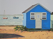 Beach Hut Paintings - The Blue Beach Hut and Boats by Linda Monk