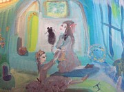 Cat Story Originals - The Blue bedroom by Judith Desrosiers