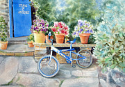 Antiques Paintings - The Blue Bicycle by Deborah Ronglien