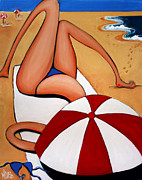 Topless Paintings - The Blue Bikini by Leanne Wilkes