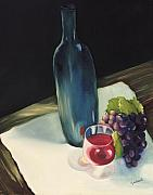 Wine Glass Paintings - The Blue Bottle by Carol Sweetwood