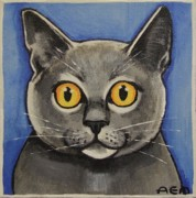 Anni Morris Art - The Blue Cat by Anni Morris
