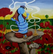 Alice In Wonderland Paintings - The Blue Caterpillar by Anni Morris
