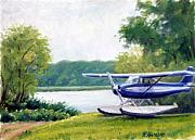 Vintage Aircraft Paintings - The Blue Cessna by Rick Hansen