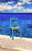 Greece Paintings - The blue chair by George Rossidis