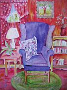 Robbins Framed Prints - The Blue Chair Framed Print by Marlene Robbins
