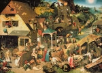 Village Life Framed Prints - The Blue Cloak Framed Print by Pieter the Elder Bruegel