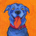 Orange Posters - The Blue Dog of Sandestin Poster by Robin Wiesneth