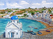 Dome Paintings - The Blue Dome Church in Mykonos by Bonnie Sue Schwartz