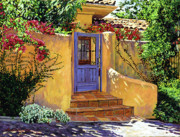 Patios Posters - The Blue Door Poster by David Lloyd Glover