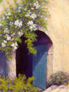 Roses Pastels Posters - The Blue Door Poster by Tanja Ware