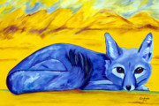 Wild Animals Paintings - The Blue Fox by Andrea Folts