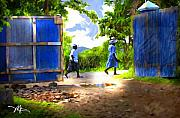 Haitian Framed Prints - The Blue Gate Framed Print by Bob Salo