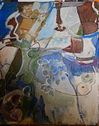 Table Cloth Paintings - The blue grapes by Joseph Mamos
