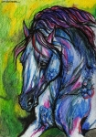 Wild Horse Drawings - The Blue Horse On Green Background by Angel  Tarantella