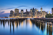 Brooklyn Bridge Prints - The Blue Hour Print by Evelina Kremsdorf