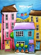 Red Roof Prints - The Blue House Print by Lucia Stewart
