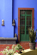 Mexican Artists Framed Prints - THE BLUE HOUSE Mexico City Framed Print by John  Mitchell