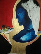 Stature Paintings - The blue masked woman with shadows of doubt by Cecilia Du toit