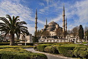 Famous Place Photo Posters - The Blue Mosque in Istanbul Turkey Poster by David Smith
