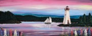 Lupines Paintings - The Blue Nose II at Baddeck Nova Scotia by Patricia L Davidson