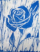 Linoleum Block Print Reliefs Posters - The Blue Rose Poster by Marita McVeigh