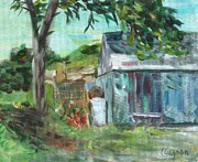 Fishing Shack Paintings - The Blue Shed by Claire Gagnon