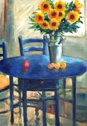 George Siaba Metal Prints - The blue table 1 Metal Print by George Siaba