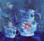 Teapot Painting Posters - The Blue Teapot Poster by Arline Wagner