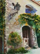 Old Village Paintings - The Blue Umbrella by Karen Fleschler