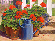 Red Geraniums Painting Posters - The blue watering can Poster by Anthony Rule