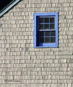 Shingles Framed Prints - The Blue Window Framed Print by Michelle Wiarda